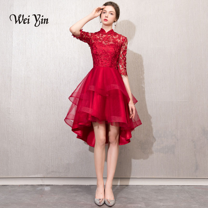 weiyin   Cocktail     Dresses   Simple A-Line lace Elegant Summer Women 2019 Short Vestidos High Neck Sexy Women   Cocktail     Dresses   WY785
