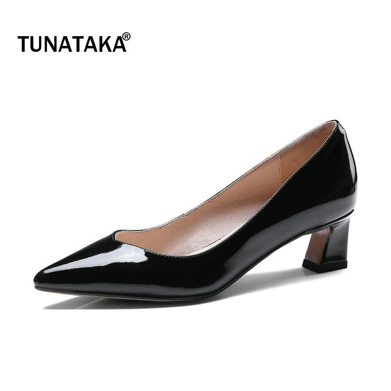 Genuine Leather Comfort Hoof Heel Woman Lazy High Heel Shoes Fashion Pointed Toe Dress Pumps Woman Shoes Black Yellow Pink woman comfort sqaure heel fur genuine leather pumps fashion pointed toe dress lazy high heel shoes woman black wine red
