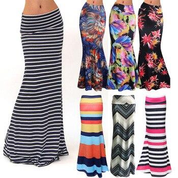 096496f22db Женская мода плюс размер в пол макси юбка с эластичным цветочным принтом  облегающая пляжная юбка в полоску Повседневная Длинная юбка Jupe Falda