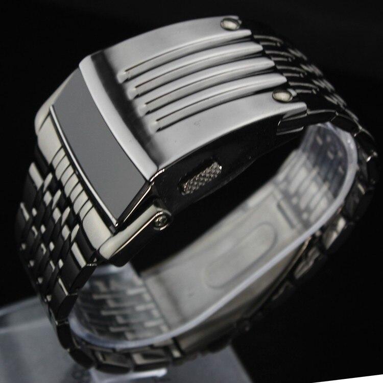 d0fe375178d Relógio do Homem de Aço de Ferro único Azul Vermelho Digitais LEVOU luxo  Moda militar Esporte Vestido Relógio de Pulso Novo relógio Masculino  masculino nova ...