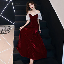 Evening Dresses Off Shoulder Long Women Party Dress Lace Boat Neck Robe De Soiree Plus Size Short Sleeve Prom Dress 2019 E475