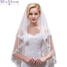 2019 Cheap Bridal Veil With Combs Elbow Length Short Wedding Veils Lace Appliques Accessories