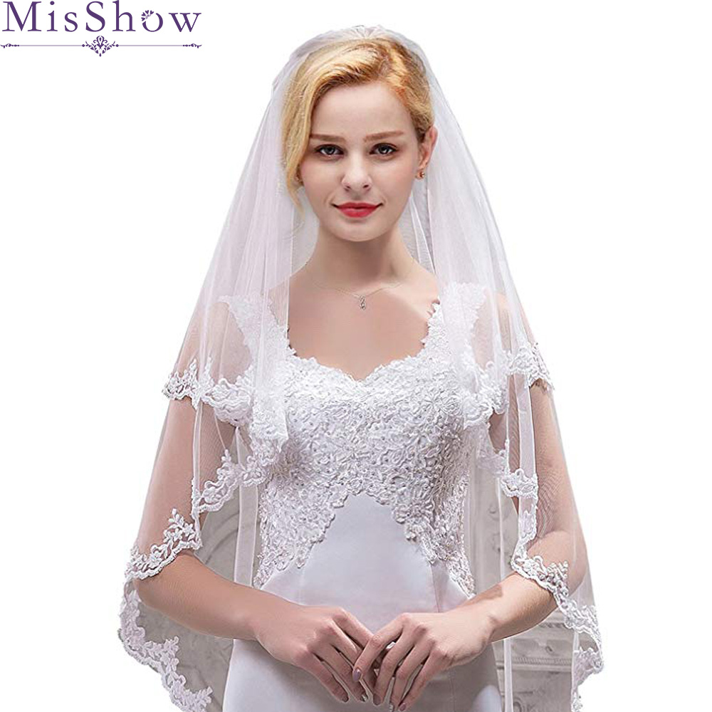 2021 Fashion Cheap Bridal Veil With Combs Elbow Length Veil Short Wedding Veils With Lace Appliques Veils Wedding Accessories