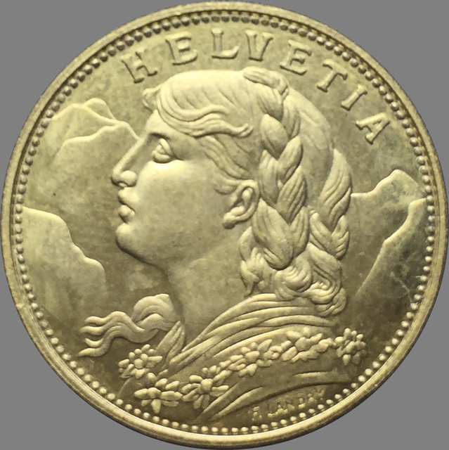 Swiss 20 Franc Gold 1897 B Br Replica Coin