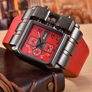 Image 3 - Oulm ブランドオリジナルのユニークなスクエアデザイン男性スポーツ腕時計ビッグダイヤルカジュアル PU レザーストラップクォーツメンズ腕時計リロイ hombre