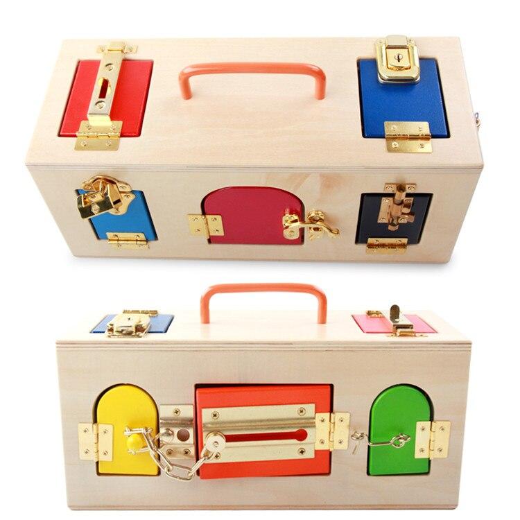 Dollmai Montessori matériaux serrure en bois et boîte de déverrouillage aides pédagogiques enfants apprenant des jouets éducatifs