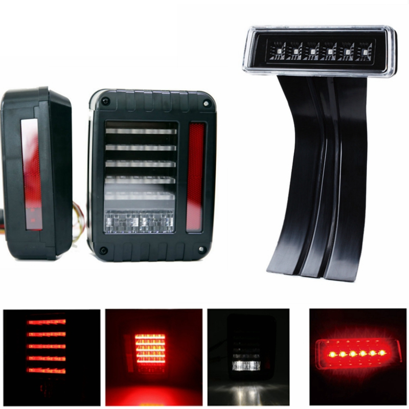 2Pcs Black G2 LED Rear Tail Light Brake Turn Signal Reverse With 1pcs 3rd Third Brake Light Combo For for 07-16 Jeep Wrangler JK