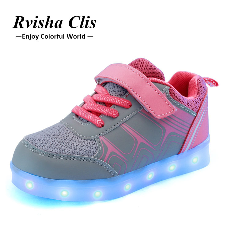 Eur25-37 //USB children shoes led with light charging colorful luminous glowing shoes boys&girls sneakers