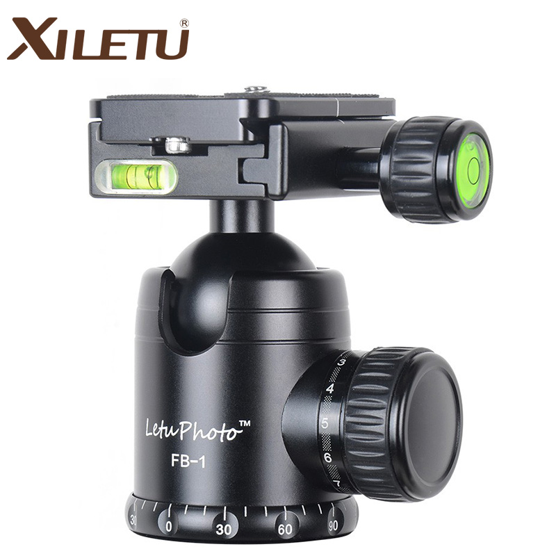 XILETU FB-1 Aluminum Professional Camera Ball Head Tripod Panoramic Head Loading Weight 15kg For ARCA Standard Manfrotto xiletu xmv 30 aluminum professional tripod for camera stand dslr video tripods fluid head damping