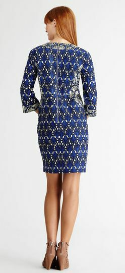Arrivo Stretch Stampa Dress Elegante Ladies Xxl Profondo Size 2016 Manica Nuovo Day 4 Autunno Blu 'plus 3 Elastico Geometria T7EBwfxq
