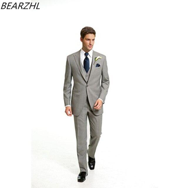 Strand hochzeit bräutigam anzug licht grau herren anzug 3 stück slim ...