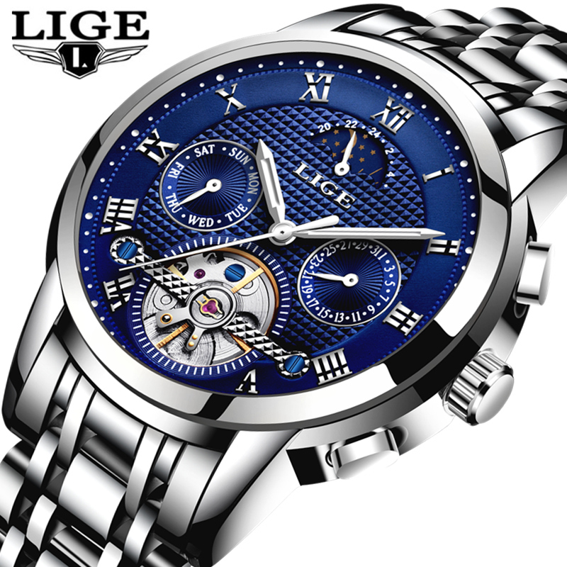 LIGE Fashion Mens Watches Top Brand Luxury Automatic Mechanical Watch Men Full Steel Waterproof Sports Watches Relogio Masculino read luxury golden automatic mechanical watches men fashion watch for men wristwatch waterproof full steel relogio masculino new
