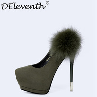 DEleventh 2018 New Spring Autumn Night Club High Heeled Shoes Sexy Fur Stiletto High Heels Platform Pumps Green Gray Khaki Black