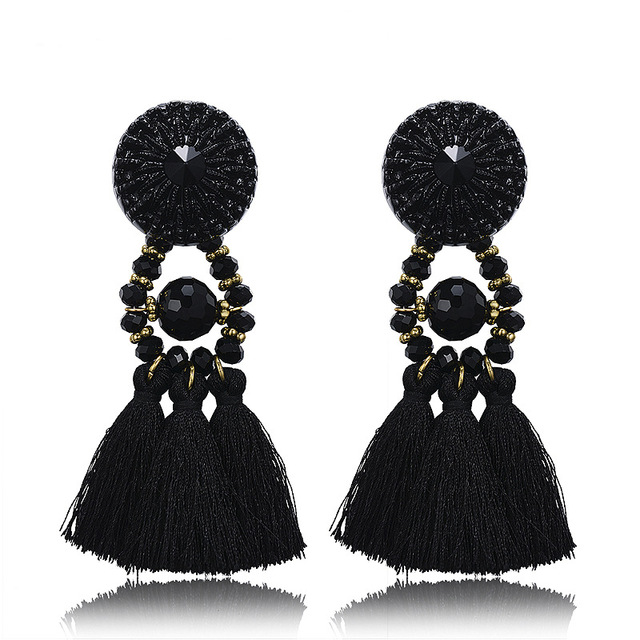 Bohemian Retro Silver Crystal Tassels Silk Thread Tassel Earring For Women Gift Jewelry