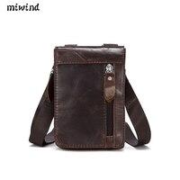 Men S Cowhide Genuine Leather Messenger Shoulder Cross Body Bag Pouch Waist Fanny Belt Hip Bum