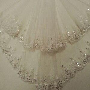 Image 1 - Kısa Ucuz 1.5 Metre Uzun Dantel Aplikler Zarif Tül İki Katmanlı Düğün Gelin Peçe Uzun düğün duvağı Tarak Ile