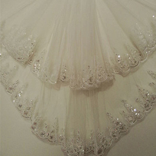 Short Cheap 1.5 Meters Long Lace Appliques Elegant Tulle Two Layer Wedding Bridal Veil Long Wedding Veil With Comb