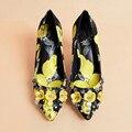 2017 Brand Designers Women Lemon Pattern Pumps Flower Rivets Studded Pumps Shoes Party Sweet Yellow Women Thin High Heels WOMEN