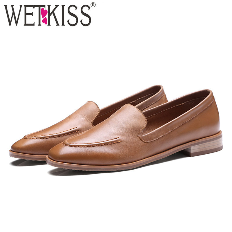 WETKISS New Arrival Genuine Leather Women Flats Slip On Square Toe Sewing Footwear Autumn Fashion Casual
