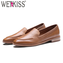 WETKISS New Arrival Genuine Leather Women Flats Slip On Square Toe Sewing Footwear Autumn Fashion Casual Ladies Loafer Shoes