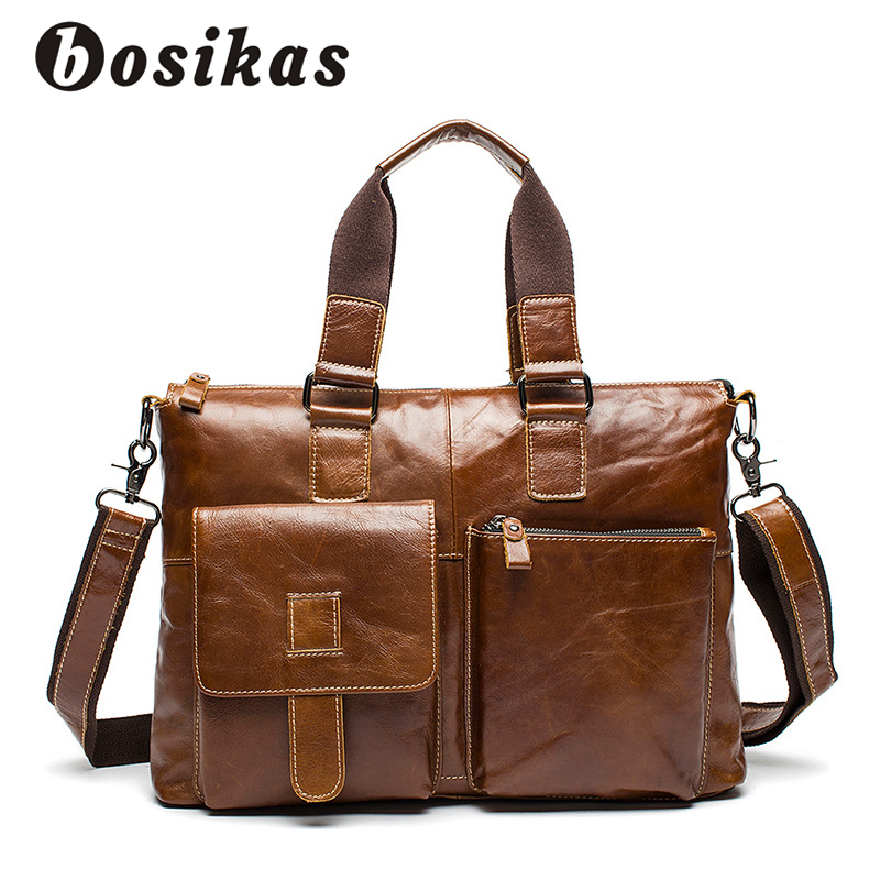 BOSIKAS Genuine Leather Men Briefcases Solid Leather Laptop Messenger Bags Men's Casual Shoulder Bag Business Laptop Bags New 2017 new brand solid genuine leather men travel bag casual laptop men shoulder handbag business men messenger bags a1610