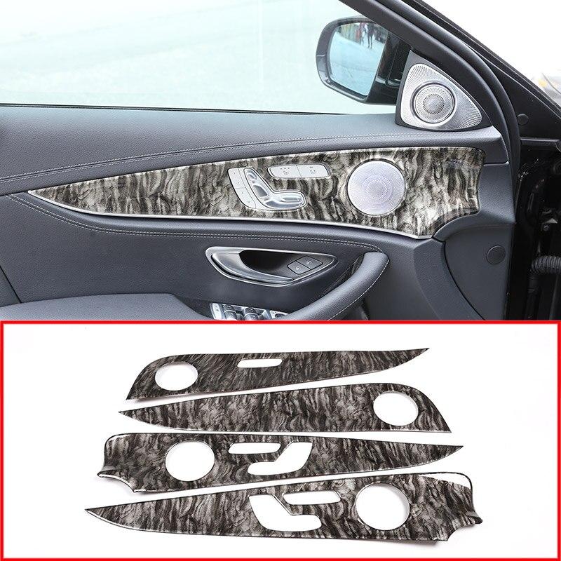Couleur de marbre pour Mercedes Benz classe E W213 2017-2019 ABS Chrome panneau de décoration de porte intérieure capots de bordure 4 pièces