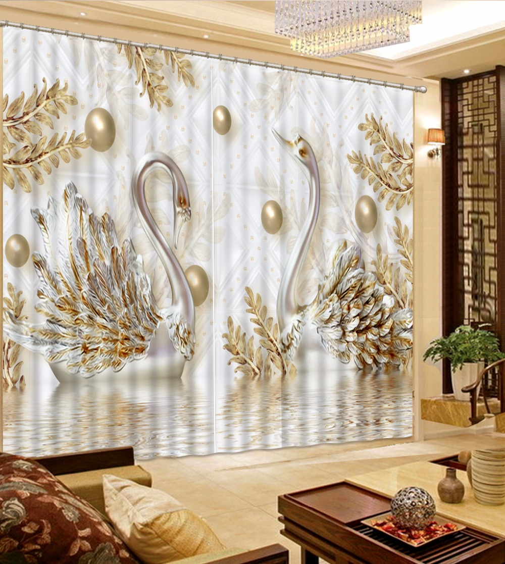 European Luxury Curtains Gold Swan Curtains For Living