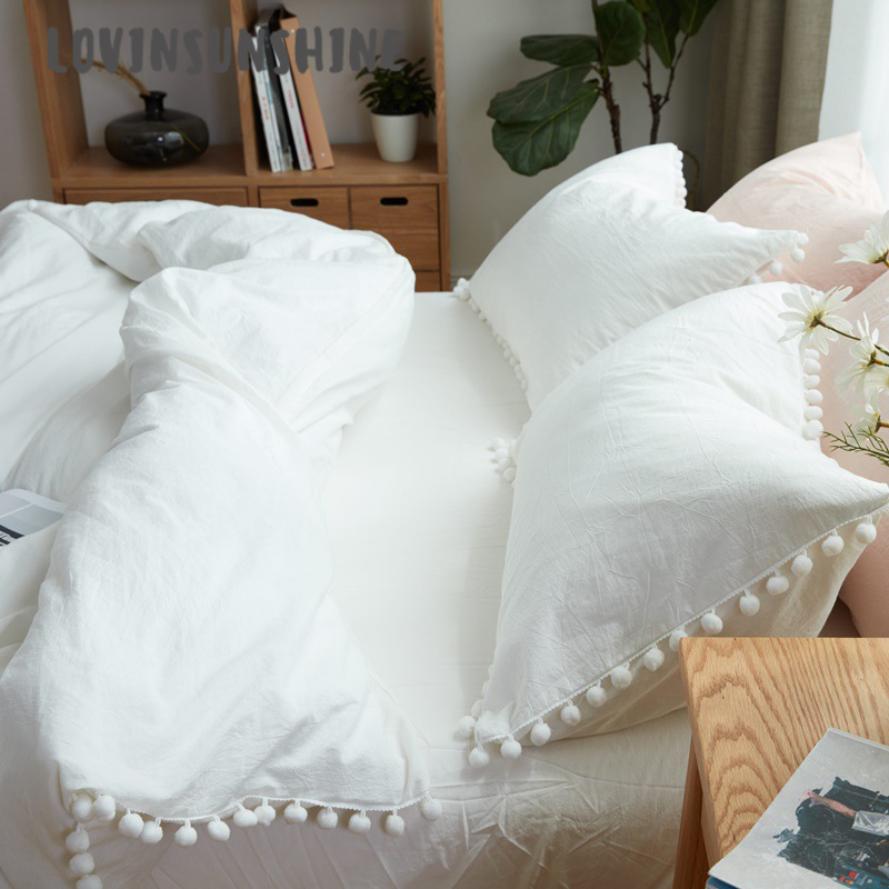 LOVINSUNSHINE Bed Duvet Cover Bed Clothes Wish Pure White Washed Balls Single Bedding Set AB#90