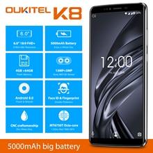 Oukitel K8 Android 8,0 6,0 «Fhd + 18:9 Mtk6750t, четыре ядра, 4 Гб Ram, 64 ГБ Rom, 5000 мА/ч, 13.0mp + 5.0mp отпечатков пальцев Face Id смартфон