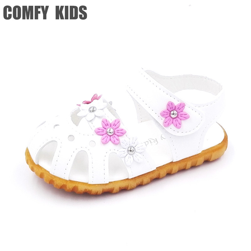 a724f0f834db Comfy kids 2018 summer child girls sandals shoes size 21-25 flat with  flower soft bottom baby girls sandals shoes for girls
