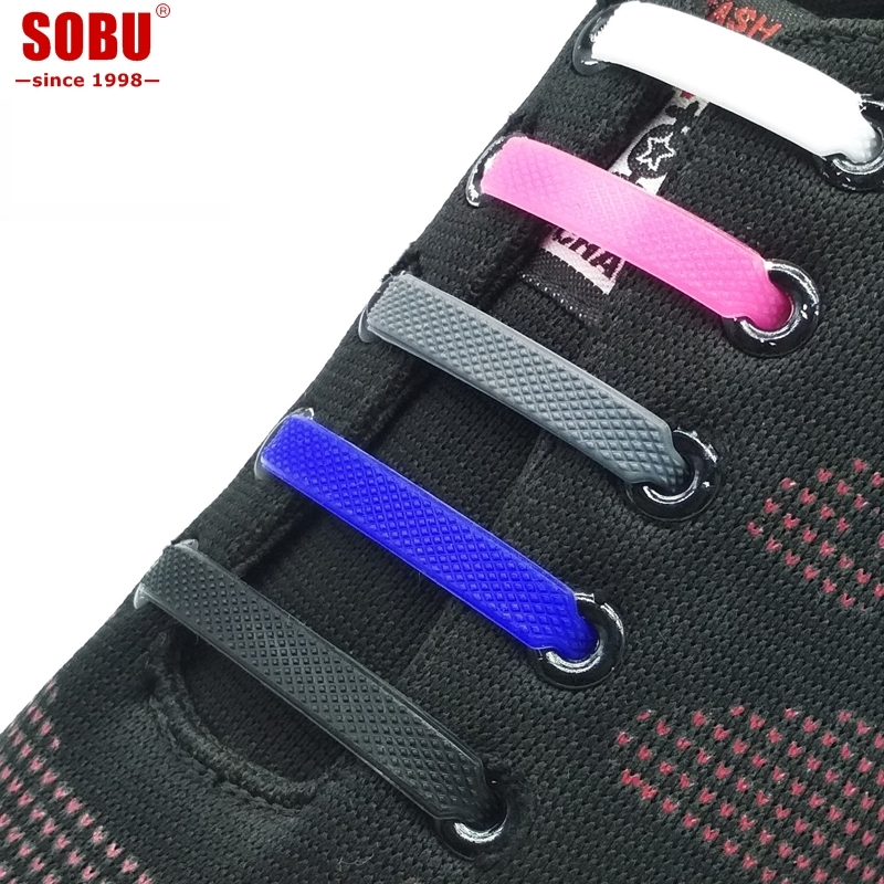 16pcs/lot Elastic Silicone Shoelaces For Shoes Special Shoelace No Tie Shoe Laces For Men Lacing Shoes Rubber Shoelace