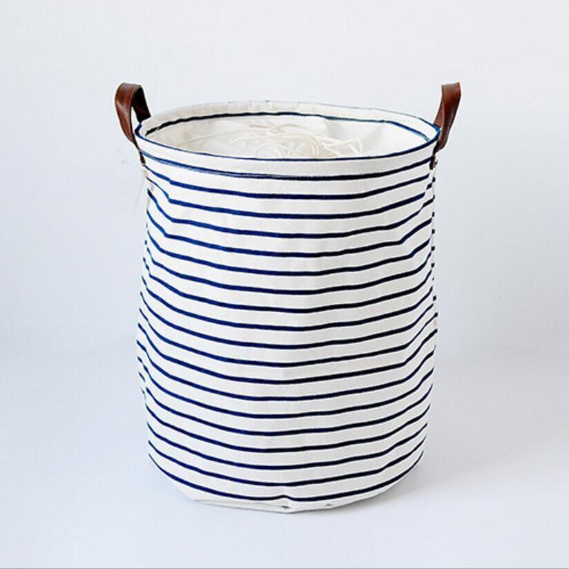 The New blue stripes Cloth Laundry Hamper Clothes Storage Baskets Home clothes barrel Bags kids toy storage organizer basket