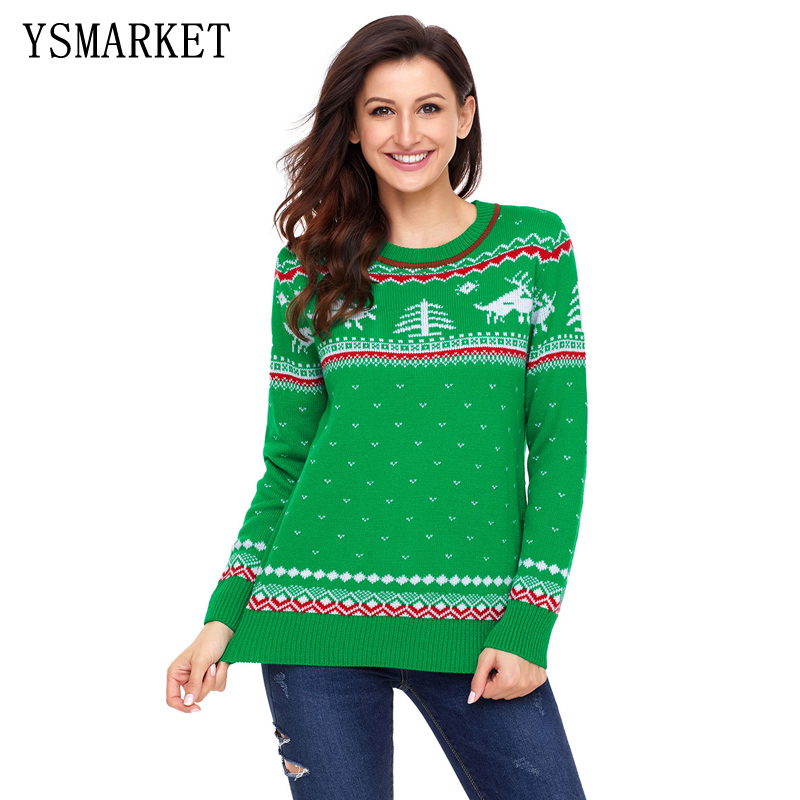 Pullover Crewneck Ugly Christmas Sweater Women knitted Cute Sweaters Reindeer Snowman Autumn Winter Pullovers 2017 E27790