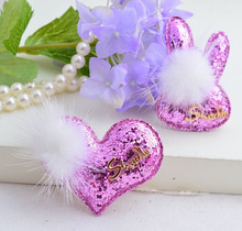 2019 Brand Hair Pin For Girls Good Quality Sequin Fabrics Natural Cony Barrettes Gold Charms Rabbit Heart Design Clips