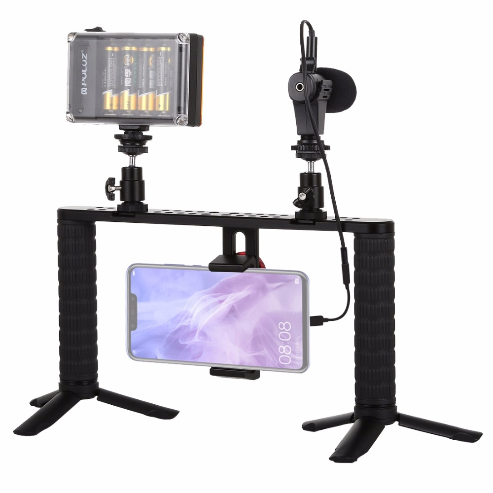 PULUZ 4 in 1 Live Broadcast LED Selfie Light Smartphone Video Rig Handle Stabilizer Aluminum Bracket Kits in Photo Studio Accessories from Consumer Electronics