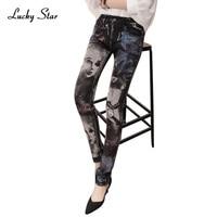 الأسود رصاص جان السراويل الجينز امرأة الأزياء فتاة الحفر الطباعة الراين طويل جينز نحيل إمرأة أنثى d335
