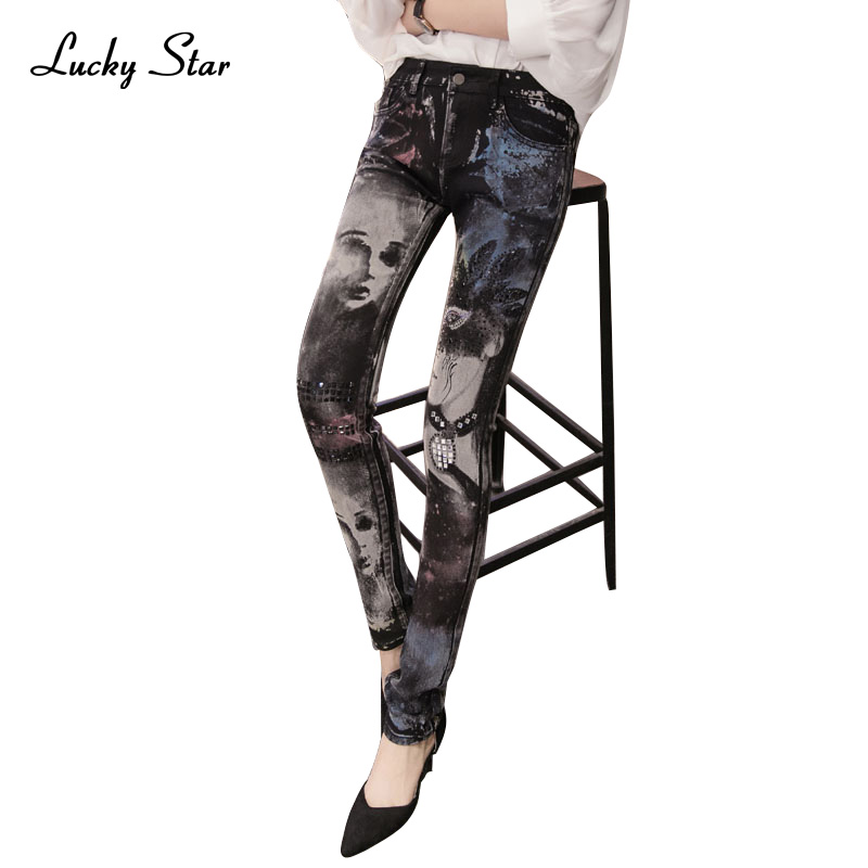 Black jeans woman Fashion Pencil jean pants Girl drilling printing rhinestones Long jeans Skinny womens Female D335