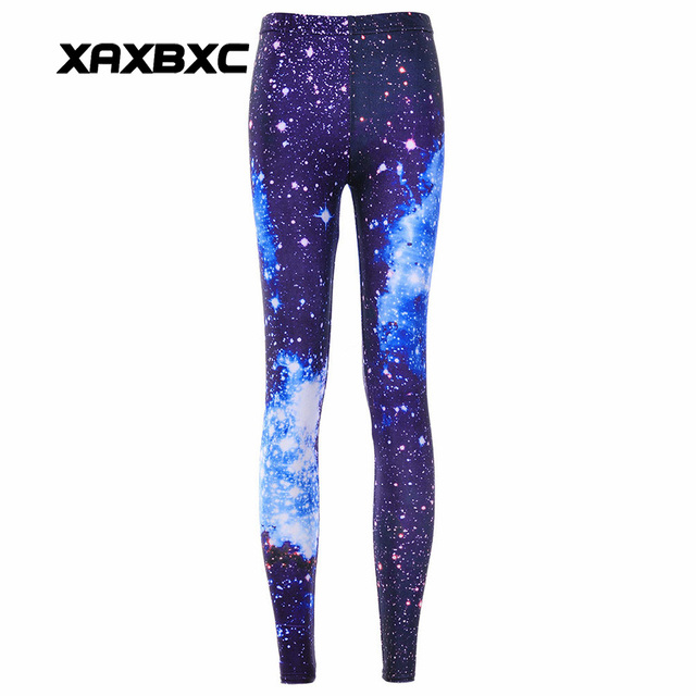 98ee3cae814a1 New 3130 Sexy Girl Pencil Pants Galaxy Dark blue Black hole Star Printed  Elastic Slim Fitness Workout Women Leggings Plus Size