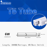 IMINOVO 10pcs LED Fluorescent Tube T5 Light Integrated Wall Lamp 600MM 6W Milky Cover Warm Cold