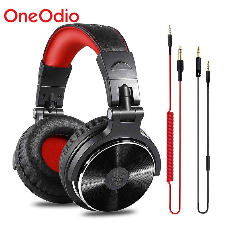 Oneodio zestaw słuchawkowy DJ z mikrofonem przewodowy zestaw słuchawkowy Hifi Studio Monitor słuchawkowy profesjonalny Monitor Stereo Urbanfun czerwony srebrny