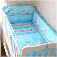 Promotion! 6PCS Baby bed crib piece set bedding set baby bedding triangle set Bed Linen, (bumpers+sheet+pillow cover)