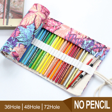 36/48/72 Holes Pencil Case Bag Portable Canvas Roll Up Gift Bag Students Stationary Storage Bag For Painting School Supplies 36 48 holes portable pencil bag roll up pencil case black canvas pencil roll up storage stationery art supply school stitionery