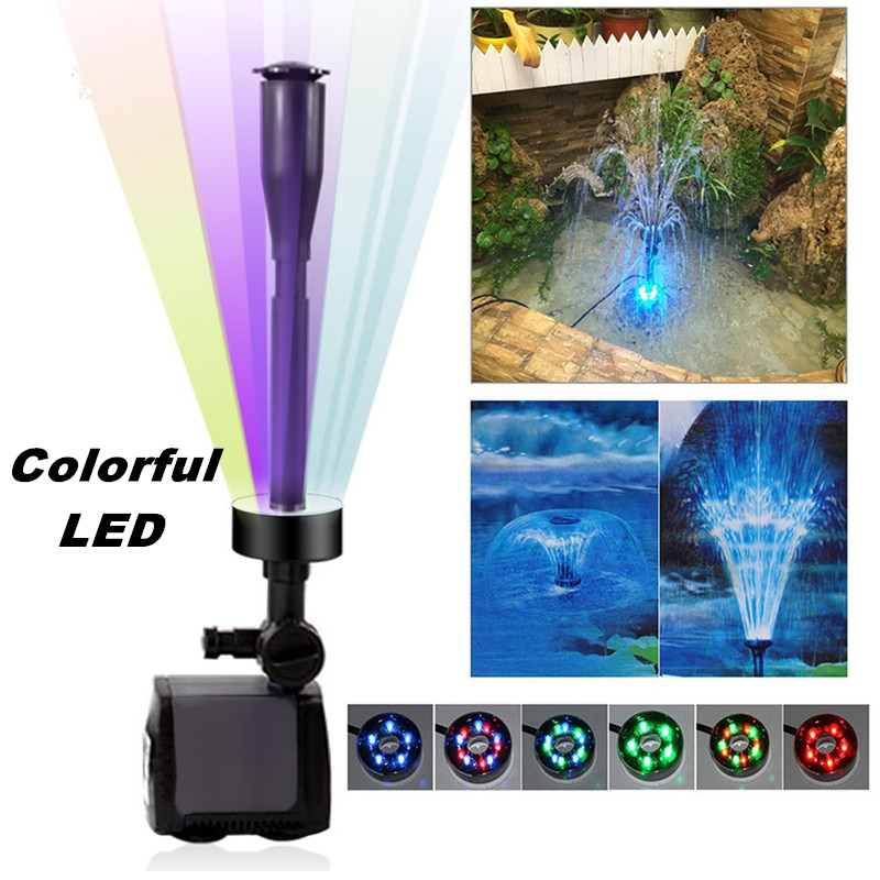 40w 2000l h Submersible Aquarium Water Fountain Pump Fish Tank Pond Garden LED Fountain Maker Aquatic