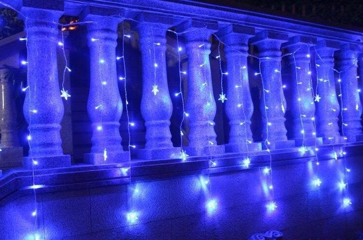 LED STRING Strip Festival Holiday Curtain LIGHT for WEDDING,Decoration 3.5m 100SMD 16 Stars 110V/220V EU/US/UK/AU Plug