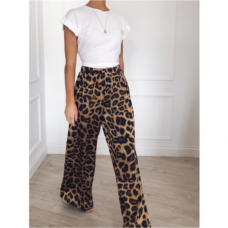 Womens Vintage   Wide     Leg     Pants   Baggy Streetwear Snake Leopard Animal Print Flare   Pants   Ladies Fashion Summer Palazzo Long Trouser