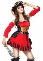 Kırmızı Fırfır Sleevels Kadınlar Korsan Kostüm Cadılar Bayramı Cosplay Fantezi Parti Cadılar Bayramı Kadınlar Korsan elbise Kadın Korsan Kostümleri Yetişkin