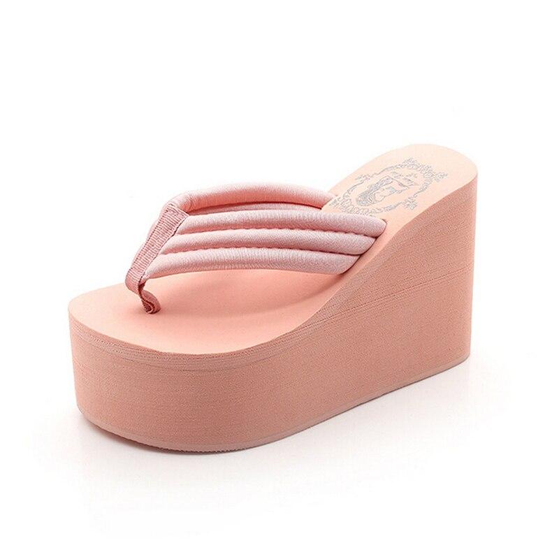 Ultra blanc Talons Pente À haute Flops Flip Sandales Belle Avec S135 rose Croûte Une Pantoufles Noir Imperméables Femmes Épaisse Muffin Chaussures wnx8WX8ER