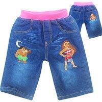 Moana Vaiana & Maui Đan Jeans Shorts cho Girls Mùa Hè phong cách Denim của cô gái Quần Lót Trẻ Em Jeans Ngắn đối với trẻ em Gái quần short