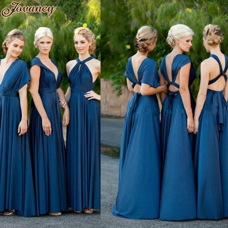 Elegant Convertible Chiffon Party Prom Dress V Neck Short Sleeve ...