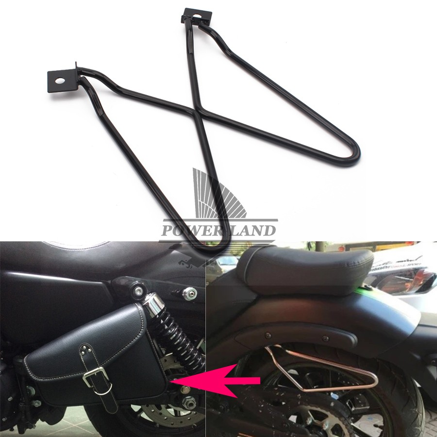Free Shipping 1set Motorcycle Black Saddle Bag Support Bar Bracket Mount Kit For Harley Sportster 883 XL Dyna free shipping 2018 uglyuros motorcycle retro back seat bag 883modified car multi function kit bag moto bag with waterproof cover